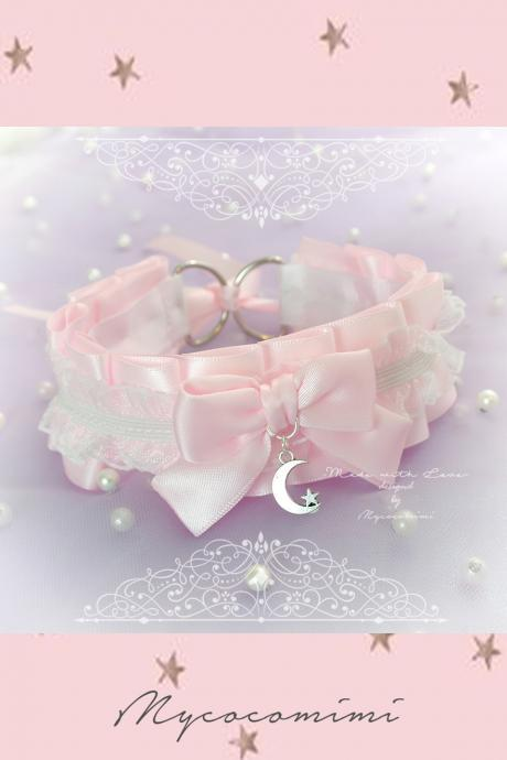 Choker Necklace , Kitten Pet Play Collar DDLG Baby pink White Ruffles Lace Bow Little Moon Star , Jewelry Lolita Daddys Girl BDSM Fairy Kei
