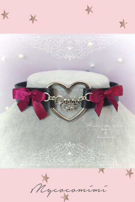 Choker Necklace , BDSM Daddys Girl Black Faux Leather Heart Burgandy Red Bow , Kitten Play Collar pastel goth Lolita DDLG