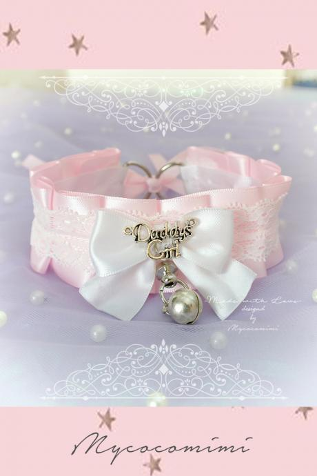 Choker Necklace ,Kitten Pet Play Collar, Tug Proof , Pink Satin White Lace Daddys Girl Bow O Ring Bell , Lolita Neko BDSM DDLG