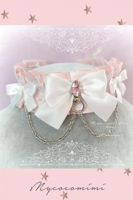 Choker Necklace ,Kitten Play Collar , BDSM DDLG Powder Pink White Lace Bow O Ring Rhinestone Chain Daddys Girl Kawaii pastel goth Fairy Kei