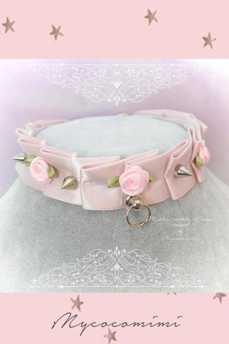Choker Necklace ,Kitten Play Collar for human ,Powder Pink Rose Flower Spikes Tug Proof O Ring ,pastel goth Lolita , Daddys Girl DDLG BDSM