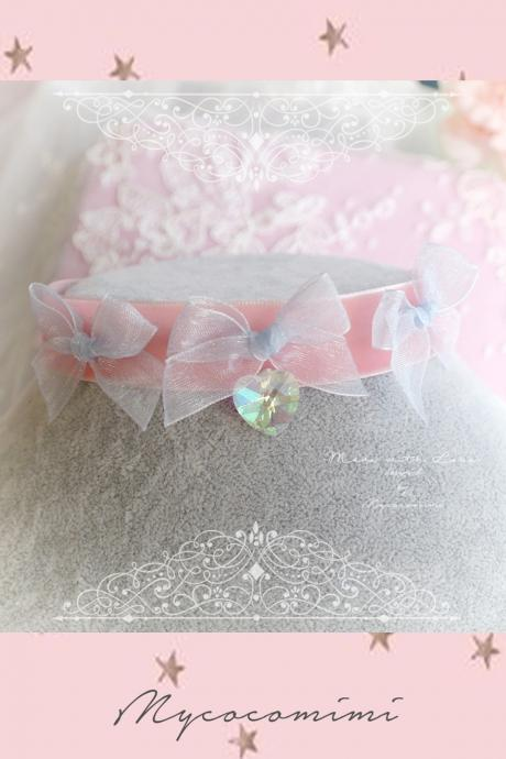 Choker Necklace ,Baby Pink Velvet Little Blue Bow Crystal Heart ,Sweet Lolita DDLG Fairy Kei Jewelry Kawaii Necklace Collar