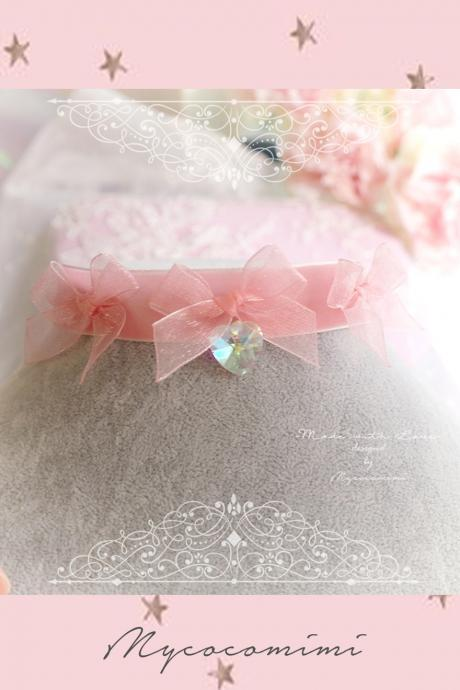 Choker Necklace ,Baby Pink Velvet Pink Bow Crystal Heart ,Sweet Lolita DDLG Fairy Kei Jewelry Kawaii Necklace Collar
