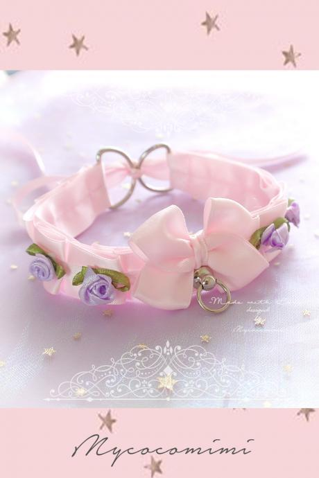 Choker Necklace ,Kitten Pet Play Collar Costume ,Baby Pink Satin Purple Lilac Rose , Tug Proof O Ring , Jewelry pastel goth Neko BDSM DDLG
