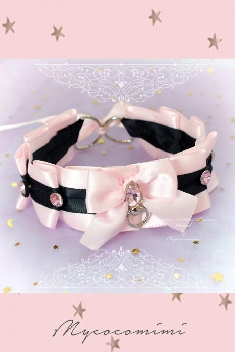 Choker Necklace ,Kitten Pet Play Collar Tug Proof , Pink Black Satin Bow O Ring Rhinestone Bling , Lolita Neko BDSM DDLG Daddys Girl Jewelry