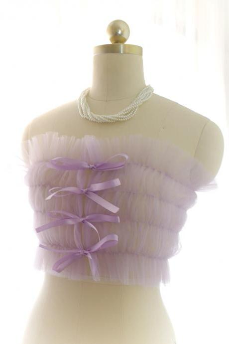 Romantic Fairy Corset Mesh Tube Top Lavender Purple Tulle Sheer Bralette Top ,Bridal Wedding Lingerie Coverup DDLG Clothing