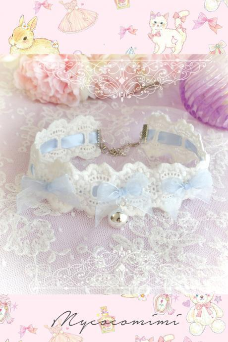 Lace Choker Necklace, Ivory Lace Baby Blue bow bell ,neko neck collar pastel cute Romantic Lolita Maiden Fashion Everyday jewelry