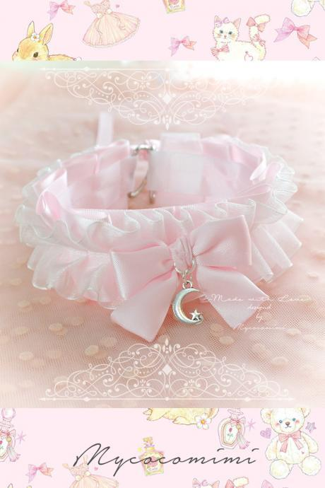 Choker Necklace ,Kitten Play Collar DDLG Daddys Girl Baby pink White Lace Ruffles Bow Little Moon Star ,Kawaii Jewelry BDSM Princess