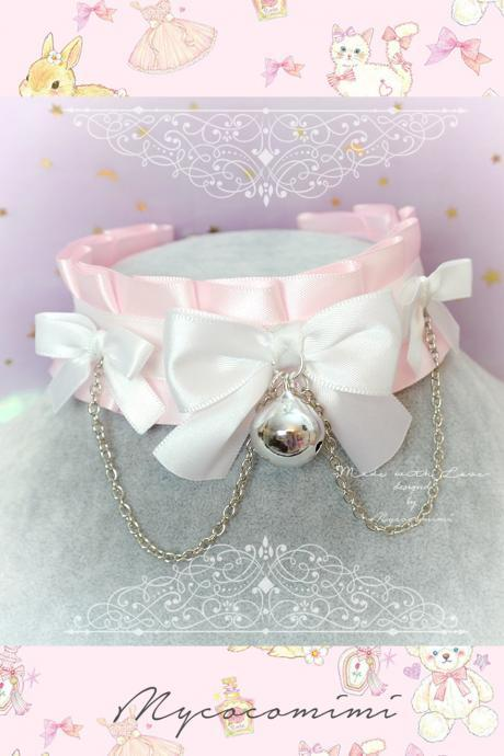 Choker Necklace ,Kitten Pet Play Collar, DDLG Baby pink White Ruffles Bow Bell Chain ,Daddys Girl Jewelry astel Lolita Cutie BDSM
