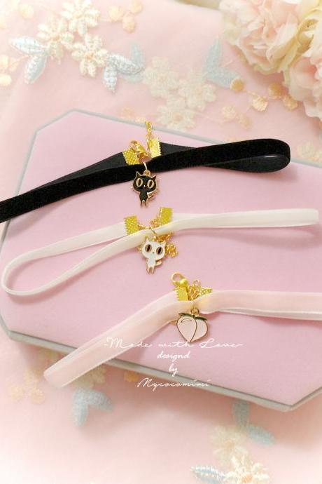 Velvet Choker Necklace, Black White Baby Pink Velvet Kitten Cat Peach ,pastel cute Romantic Lolita Maiden Fashion Everyday jewelry