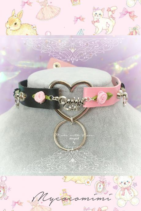 BDSM Daddys Girl Choker Necklace Black and Pink Faux Leather Heart O Rings Rose , Kitten Play Collar pastel Neko Gothic Lolita DDLG