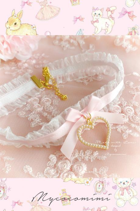 Lace Choker Necklace, White Ruffles Lace Baby Pink bow Mini Pearl Heart ,neck collar pastel cute Romantic Lolita Fashion Everyday jewelry