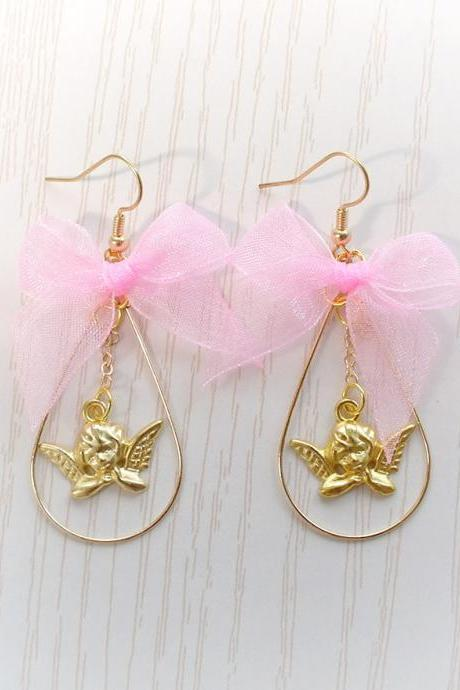 DANGLE or CLIP ON no pierce Earrings, Baby Pink Bow Cupid Valentine Angel , Cute Kawaii Sweet Fairy Kei Everyday Jewelry