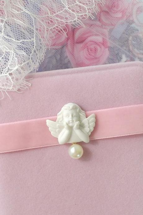 Choker Necklace ,Romantic Rococo Style Baby Pink Velvet Little Cupid Angel Pearl ,DDLG Lolita Adult Baby Fairy Kei Everyday Jewelry