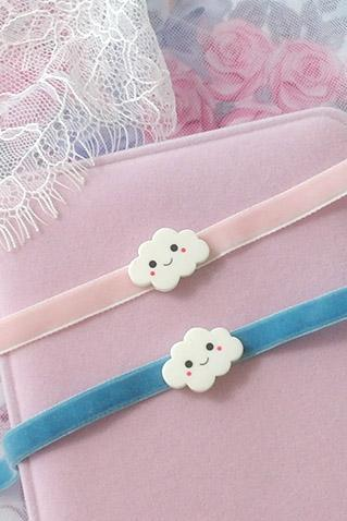 Velvet Choker Necklace ,Super Cute Happy Cloud Choker Pink Blue , Kawaii Everyday Jewelry pastel Lolita Cutie DDLG