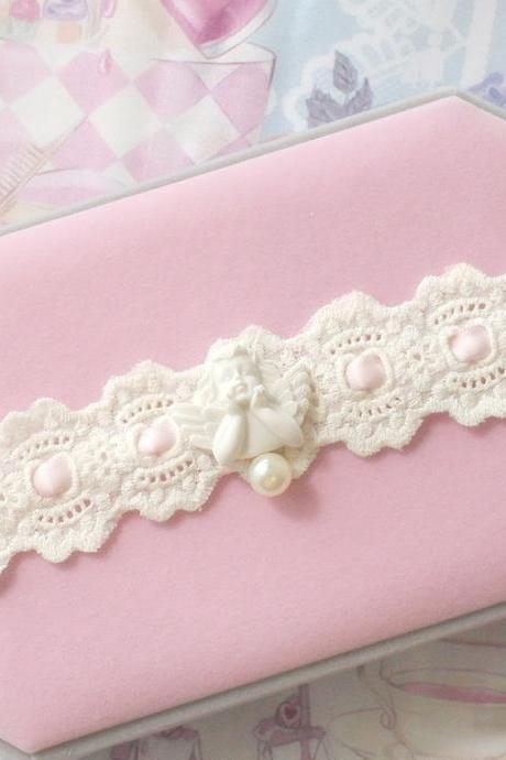 Choker Necklace,Pink Lace Little Cupid Angel Faux Pearl , neck Collar Rococo Pastel Romantic Lolita Fashion Everyday jewelry