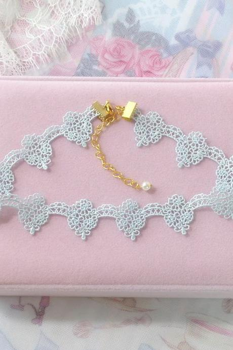 Pretty Choker Necklace , Baby Blue Lace Victorian Necklace , pastel Lolita Everyday Jewelry Rococo