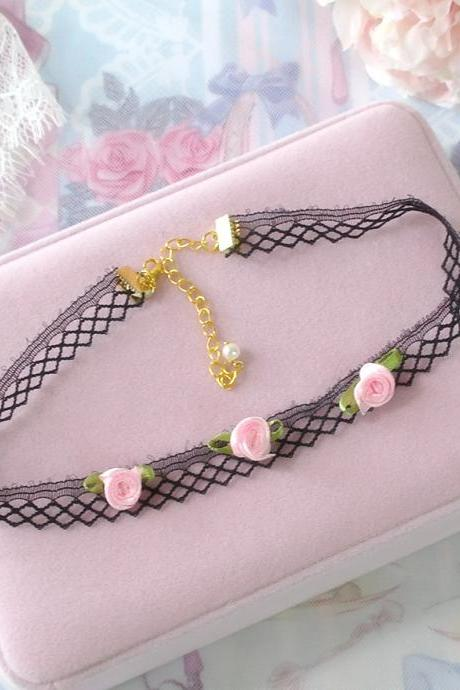 Rock Choker Necklace , Black Net Lace Mini Pink Rose Flower Rocker Punk Rock , pastel Lolita Everyday Jewelry Cute Kawaii