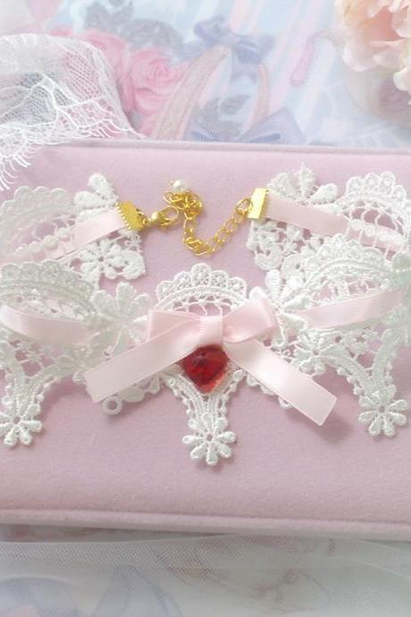 Pretty Lace Choker Necklace ,Romantic White Lace Pink Bow Red Crystal Heart , pastel Lolita Victorian Rococo Style Jewelry Cute Kawaii