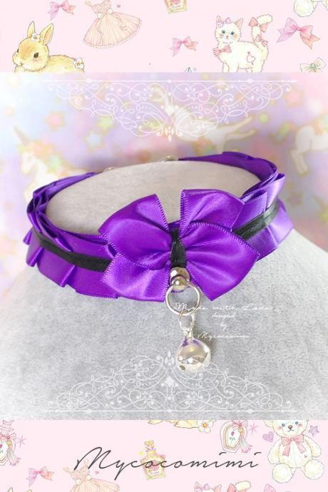 Choker Necklace ,Kitten Play Collar, DDLG Purple Black Satin Ruffles Bow Bell ,Daddys Girl Jewelry Maiden Lolita Rule Play Gothic