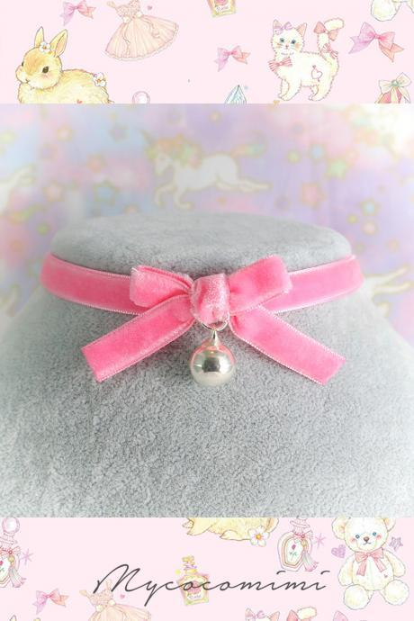 Velvet Necklace Choker Parbie Hot Pink Velvet Bow Bell , Kitten play day collar, Lolita cute neko collar DDLG Daddys Baby Girl jewelry
