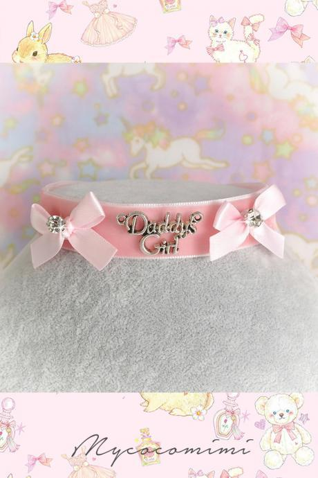 Velvet Choker Necklace, Daddys Girl Pink Velvet Rink Bow Bling Rhinestone ,pastel Lolita DDLG Cute Kawaii Jewelry, Kitten Play Day Collar