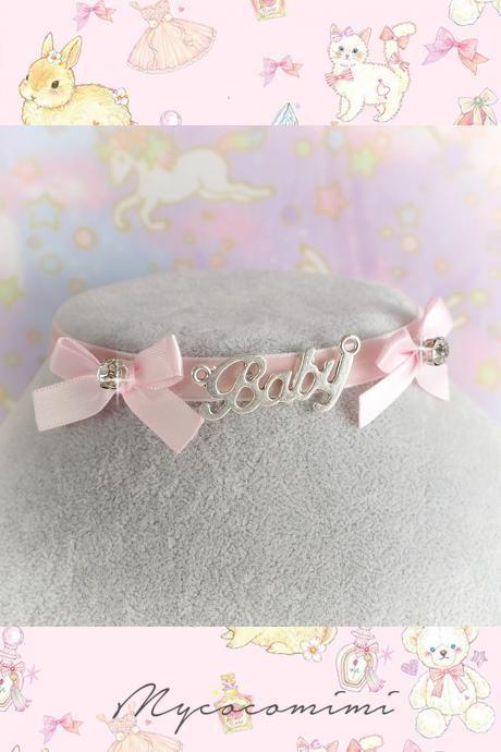 BABY Velvet choker Necklace ,Baby Pink Velvet Bow Bling Rhinestone , pastel Lolita Everyday Casual Jewelry DDLG Cute Kawaii