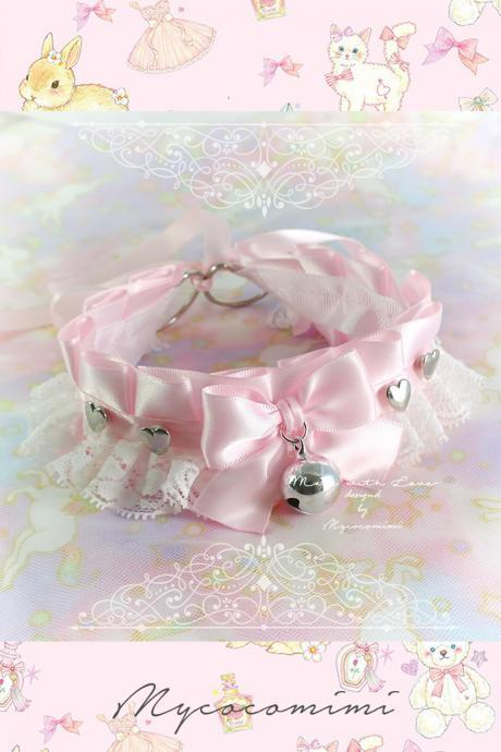 Choker Necklace ,Kitten Play Collar , DDLG Baby Pink Satin White Lace Bow Bell Little Heart , kitty Jewelry pastel Goth Cute BDSM Lolita