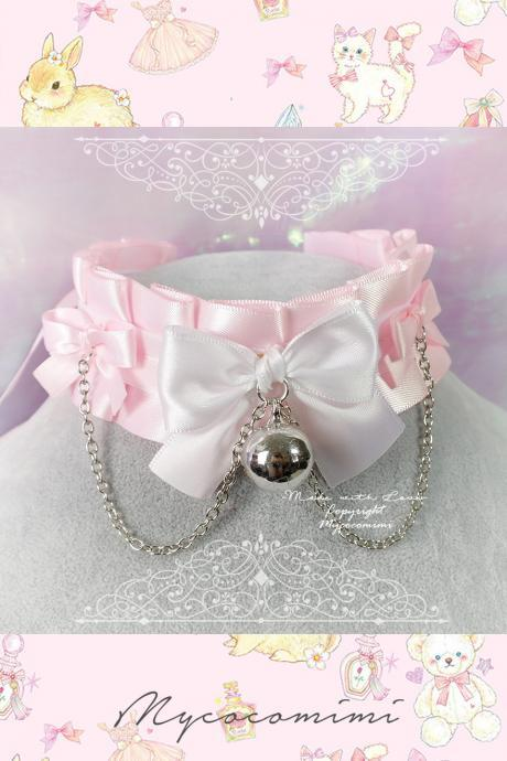 Choker Necklace ,Kitten Pet Play Collar, Daddys Girl DDLG Baby pink White Bow Bell Chain, Jewelry pastel Lolita BDSM Fairy Kei