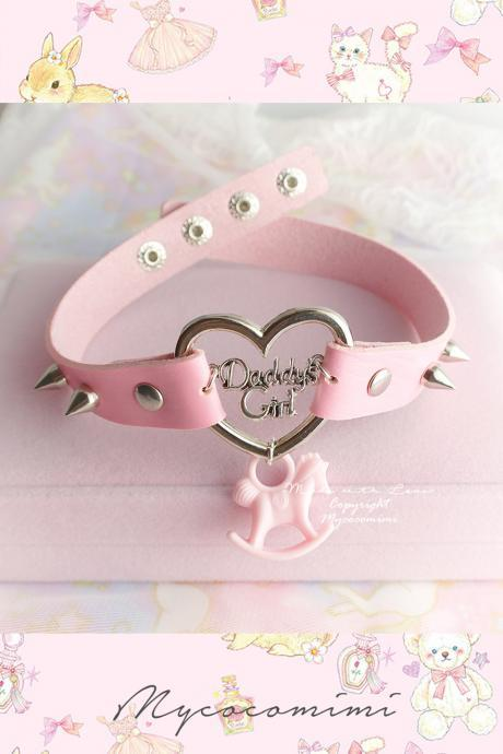 Choker Necklace , Daddys Girl Pink Faux Leather Heart Spikes Pony Baby Carousel, Kitten Play Collar pastel goth DDLG BDSM Cute Jewelry