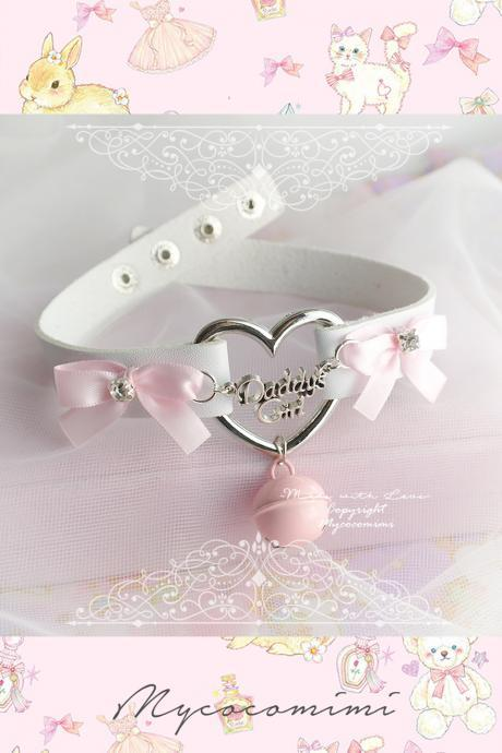 Daddys Girl DDLG Heart Choker Necklace White Faux Leather Pink Bow Rhinestone Baby Pink Bell, Kitten Play Collar pastel goth Lolita Jewelry