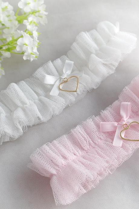Baby Pink /White Tulle Garter, Simple Tulle Lace Garter Bow Gold Heart , Ballerina Ruffles Tutu Wedding Bridal Lingerie Keepsake Toss