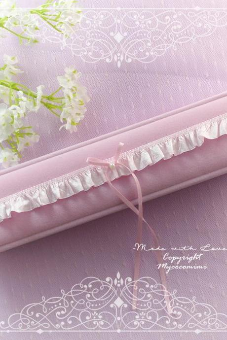 Baby Pink Ruffles Lace Skinny Wedding Garter, Pink Bow Pearl simple rhinestone, Bridal Lingerie Keepsake Toss Simple