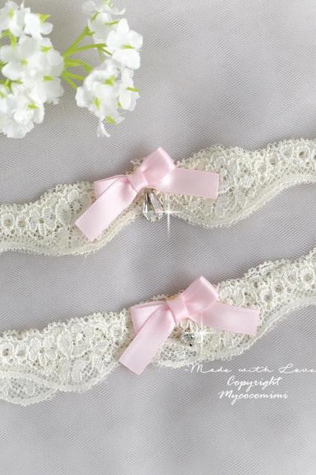 Wedding Bridal Garter Set , Light Beige Lace Baby Pink Bow Bling Rhinestone Cute, Wedding Lingerie , Keepsake Toss Wedding Accessories