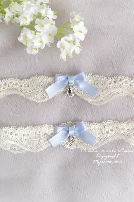 Wedding Bridal Garter Set , Light Beige Lace Baby Blue Bow Bling Rhinestone Simple, Wedding Lingerie , Keepsake Toss Wedding Accessories