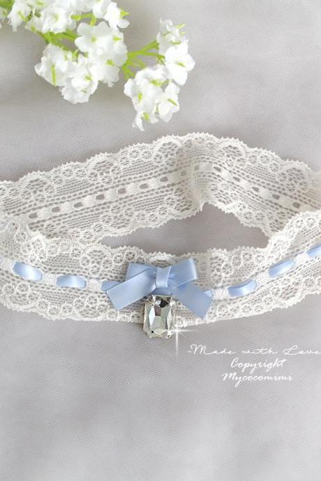 Ivory lace garter, Something Blue Garter Rhinestone bow, Bridal lingerie Wedding Garter Belt Prom Honeymoon Keepsake Toss