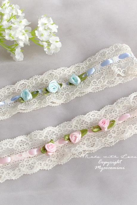 Ivory lace garter, Baby Pink Light Blue Flower Rose Garter , Bridal lingerie Wedding Garter Belt Prom Honeymoon Keepsake Toss