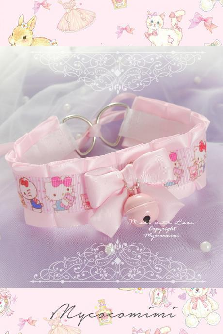 Cute Hello Kitty Cat Choker Necklace ,Kitten Pet Play Collar , DDLG Pink Satin Bow Bell Daddys Girl Kawaii pastel Fairy Kei
