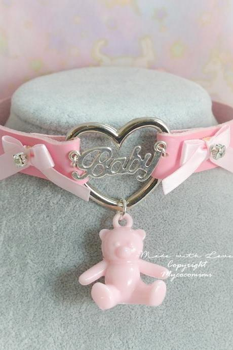 BABY GIRL Choker Necklace Pink Faux Leather Heart Pink Bow Rhinestone Teddy Bear , Kitten Play Collar pastel Adult Baby Jewlelry DDLG