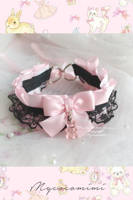 Gummy Bear Choker Necklace ,Kitten Pet Play Collar, Pink Satin Black Lace Ruffles Bow Adult Baby Cute Jewelty Lolita BDSM DDLG
