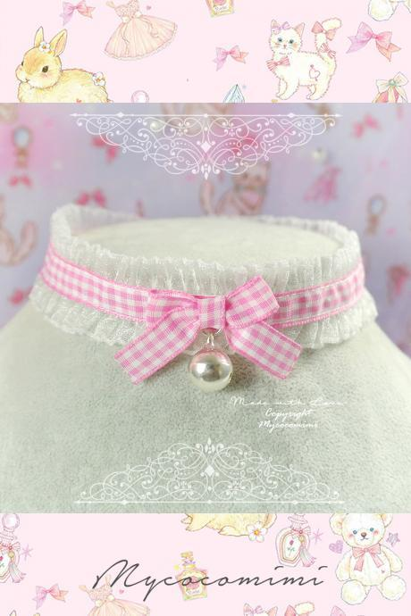 Choker Necklace ,White Ruffles Lace Pink Plaid Bow Bell ,Sweet Lolita DDLG Fairy Kei Jewelry Kawaii Necklace Day Collar