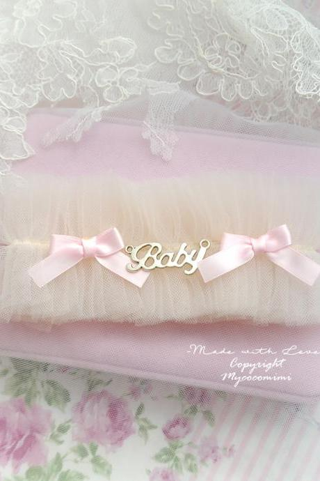 Lingerie Garter, Wedding Garter, Bridal Accessories, Blush Champagne Tulle Baby Pink Bow BABY girl , Dreamy Cute DDLG Sweet Garter