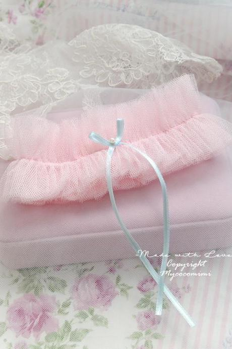 Lingerie Garter, Wedding Garter, Bridal Accessories, Baby Pink Tulle Light Blue Bow , Something Blue , Dreamy Cute DDLG Sweet Garter