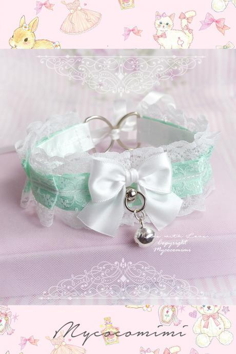 Collar Choker Necklace, Kitten Play Collar ,Mint Green White Lace Bow Bell Tug Proof O Ring , Princess Lolita Neko DDLG Jewelry Cosplay