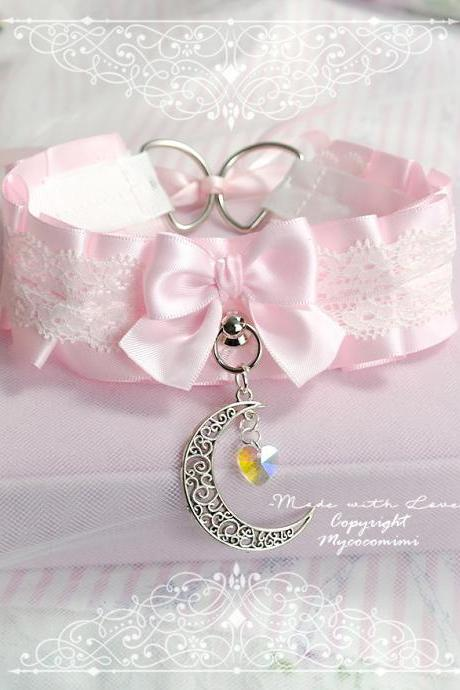 Choker Necklace , Princess Kitten Pet Play Collar ,DDLG Baby Pink White Lace Crescent Moon Crystal Heart ,Daddys Girl Jewelry Fairy BDSM