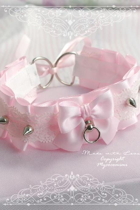 Kitten Pet Play Collar , BDSM DDLG Choker Necklace Pink Satin White Lace Ruffles Bow Spikes Tug Proof, Daddys Girl Kawaii pastel goth