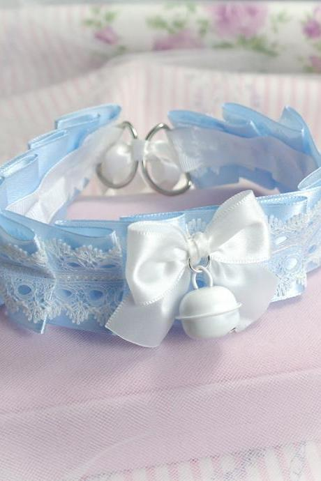 Choker Necklace ,Kitten Play Collar , BDSM DDLG Baby Blue Lace Ruffles White Bow Bell, Jewelry Daddys Girl Kawaii pastel goth Fairy Kei