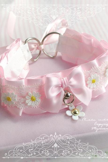 Choker Necklace , Fairy Princess Kitten Play Collar ,DDLG Baby Pink White Lace Dairy Flower O Ring Bow,Daddys Girl Jewelry Fairy BDSM
