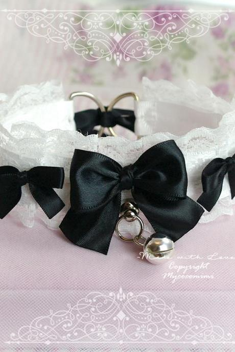 Choker Necklace, Kitten Play Collar ,Black and White Lace Bow Bell Tug Proof , Princess Lolita Daddys Girl Neko DDLG Jewelry Cosplay
