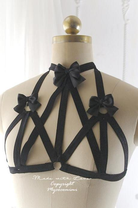Black Bow Body Harness Open Bra, DDLG Daddys Girl Stretch Cage Bondage Bra Bralette BDSM Lingerie Kawaii Lolita Fetish Kitten Play Gothic